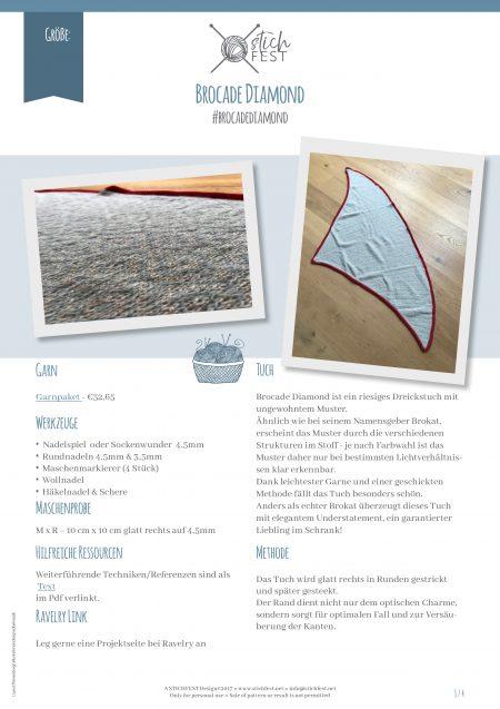 Erste Seite Anleitung Damask Diamond Tuch Stichfest stricken Anleitung Muster Pattern Ravelry