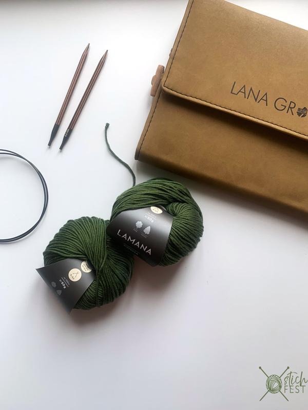 Zwei Knäuel grüne Baumwolle Lamana Cosma und Holznadelspitzen Set Maharaja von Lana Grossa