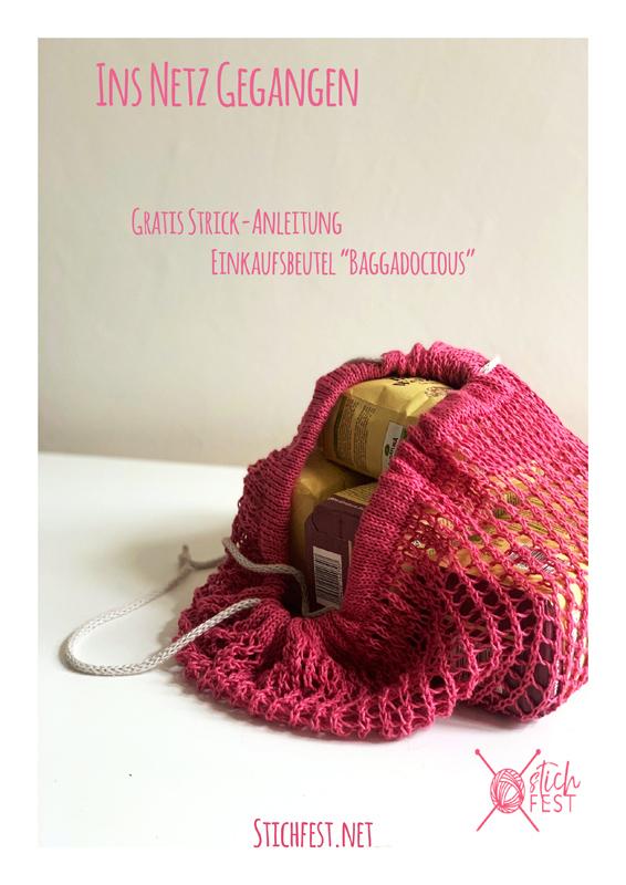 Gratis Strick Anleitung für Einkaufsnetz aus Baumwolle. Mit Kordelzug.