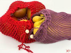 Einkaufsnetz Obstbeutel Gemüsenetz stricken Anleitung Gratis