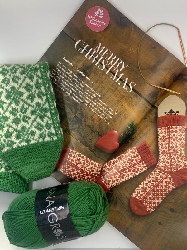 Lana Grossa Meilenweit Booklet 6 Modell 40 Selbu Socken und Meilenweit Cashmere in grün